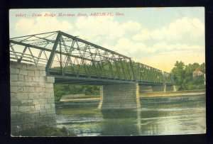 Amesbury, Massachusetts/MA/Mass Postcard, Draw Bridge, Merrimac River