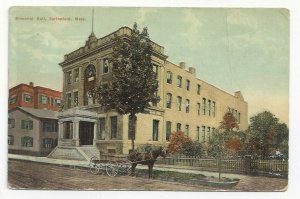 SPRINGFIELD, Massachusetts,  PU-1910; Memorial Hall, Horse and Carriage