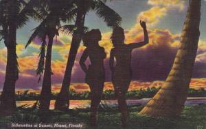 Florida Miami Silhouettes At Sunset