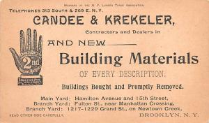 Hardware Advertising Old Vintage Antique Post Card Candee & Krekeler Trade Ca...