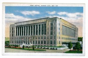 Post Office, Kansas City, Missouri,  unused Kropp Linen Postcard