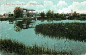 Toronto Ontario~A Pretty Spot on the Pond in Island Park~Pavilion Reflects~1909