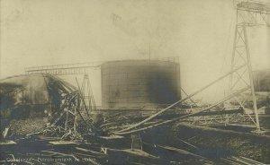 romania, CONSTANȚA, Petroleum Tank in the Harbor (1910s) RPPC Postcard