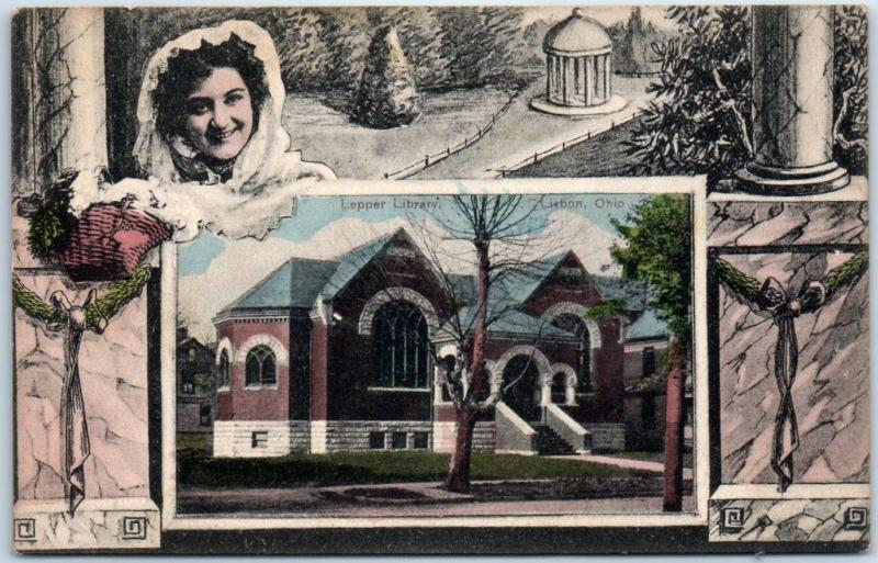 Lisbon, Ohio Postcard LEPPER LIBRARY Building View w/ Ornate Border 1910 Cancel