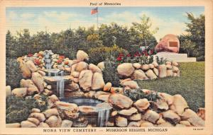 MUSKEGON HEIGHTS MICHIGAN~MONA VIEW CEMETERY-POOL OF MEMORIES POSTCARD 1950 PMK
