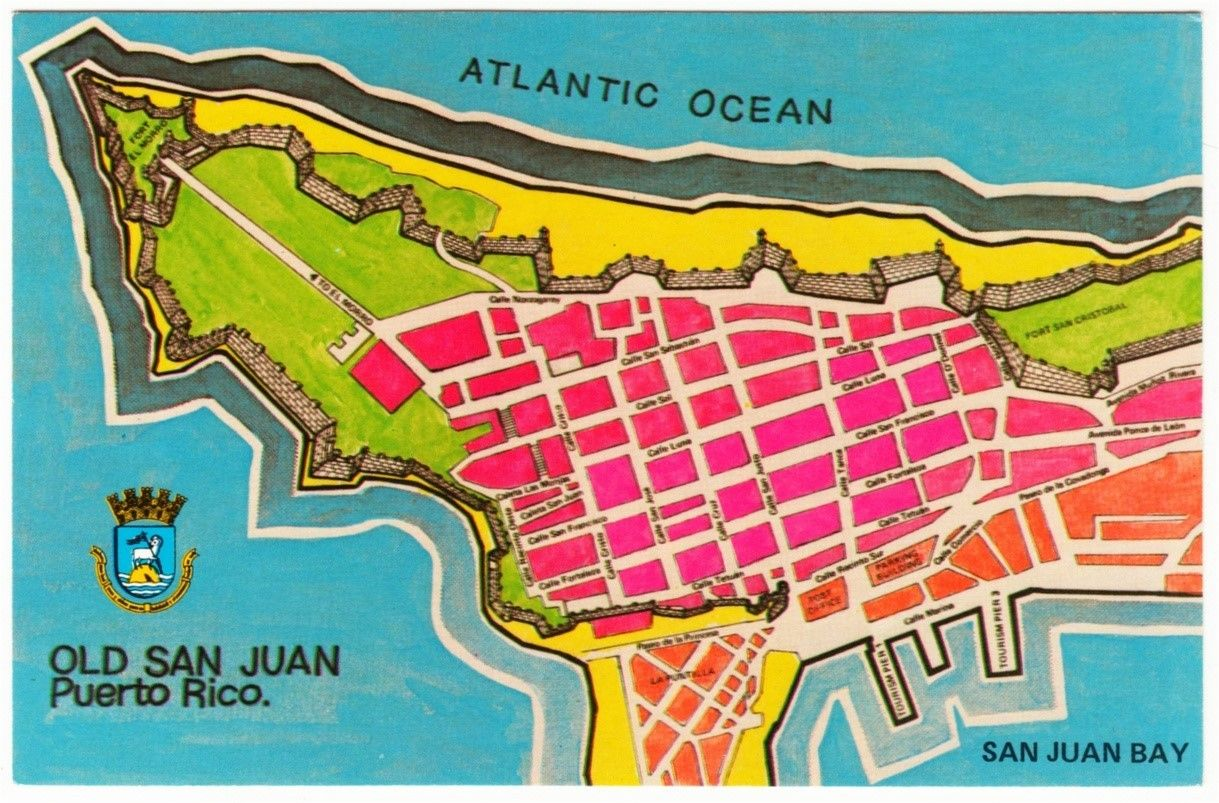 Puerto Rico Map of Old San Juan 1960s-1970s Postcard ... on grand cayman island attractions map, las vegas attractions map, hamburg germany attractions map, singapore attractions map, aruba attractions map, new york attractions map, ocean city maryland attractions map, san juan trolley map, san juan shopping map, old san juan pier map, puerto rico visitor map, freeport bahamas attractions map, san juan bus map, nassau bahamas attractions map, san juan walking tour map, puerto rico tourism map, seattle washington attractions map, san juan island attractions map, helsinki finland attractions map, dallas texas attractions map,