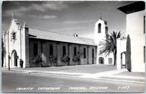 Phoenix, Arizona RPPC Real Photo Postcard TRINITY CATHEDRAL Street View c1940s