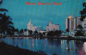 Florida Miami Beach At Night Looking Across Indian Creek 1966