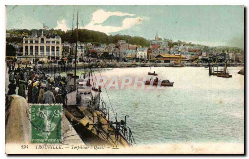 Old Postcard Trouville Torpedo's Wharf