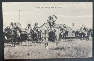 Mint Real Picture Postcard Native American Indian Chief Joe Healy & Braves