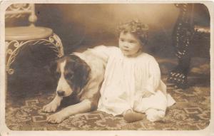 F27/ Animal RPPC Photo Postcard c1910 Dog Chid Pet 6