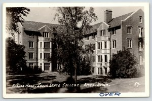 Ames IA~Iowa State College~University~Hughes Hall Close Up~1940s RPPC