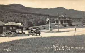 Stowe VT Socony Gas Pumps Station Old Car Real Photo Postcard