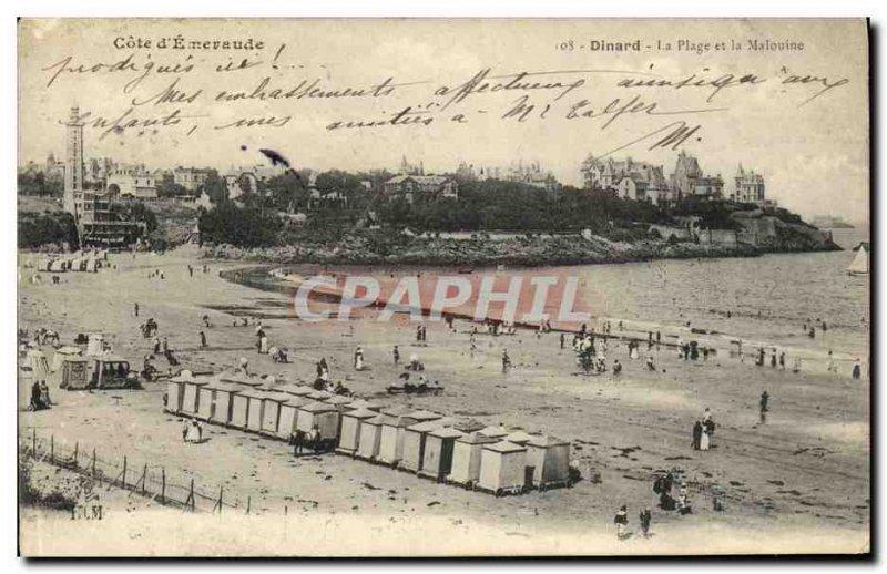 Old Postcard The Dinard Beach and Malouine