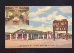 OKLAHOMA CITY OKLAHOMA RAILFENCE MOTEL VINTAGE LINEN ADVERTISING POSTCARD