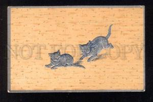 031873 Playing Silver KITTENS. Vintage Embossed PC