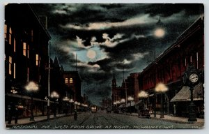 Milwaukee Wisconsin~National Avenue Night Lights~Street Clock~Trolley~Moon~1908