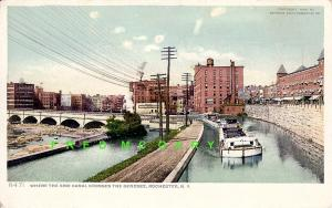 1907 Erie Canal New York Postcard Shows 2 Boats Crossing the Genesee River