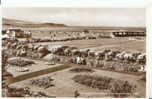 Scotland Postcard - Sunken Gardens and Seafront - Ayrshire - RP - Ref 7750A