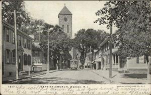Warren RI Baptist Church Street & Trolley c1910 Postcard