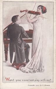 Man playing piano and lady playing violin, Won´t you come and play with me?...