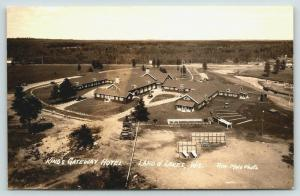 Land O' Lakes Wisconsin~King's Gateway Hotel~Birdseye Panorama~1940s RPPC