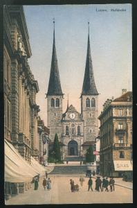 Switzerland Luzern Hofkirche Lucerne St Leodegar Court Church  E. Goetz Postcard