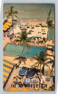 Miami FL-Florida, Advertising Sovereign Hotel, Ocean, Pool, Linen c1962 Postcard