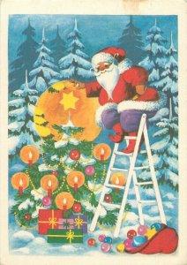 Hungary Merry Christmas greetings Santa Claus caricature christmas tree star