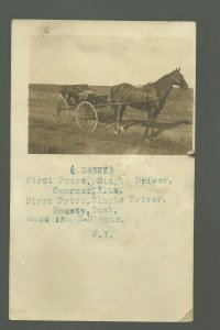 Wolseley SASKATCHEWAN CANADA RP 1914 HARNESS RACING Horse Darky Race ADVERTISING