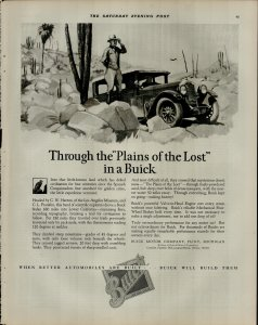 1927 Buick Car Through the Plains of the Lost Buick Vintage Print Ad 3916