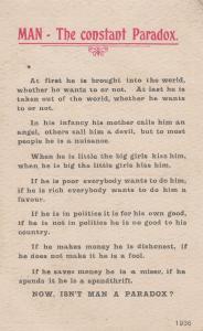 Man The Constant Paradox Politics The Devil WW1 Alpha Songcard Postcard