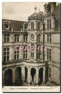 Old Postcard Chateau de Chambord staircase of the Francois I Wing