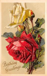 Catherine Klein~Red & Yellow Roses~Buds~Dewdrops~Embossed~Int'l Art Pub Co