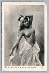 AFRICAN TOPLESS BEAUTY RISQUE ANTIQUE POSTCARD