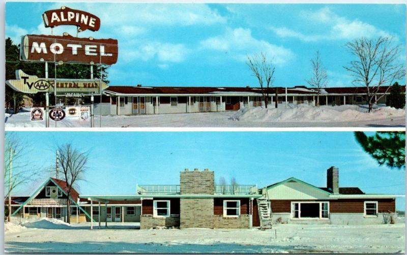 Gaylord, Michigan Postcard ALPINE MOTEL I-75 Roadside c1960s