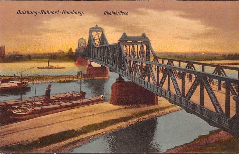 Duisburg Ruhrort Homberg Rheinbruecke Bridge River Boats Bateaux Pont