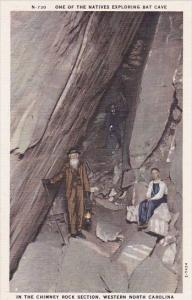 One Of The Natives Exploring Bat Cave In The Chimney Rock Section Western Nor...
