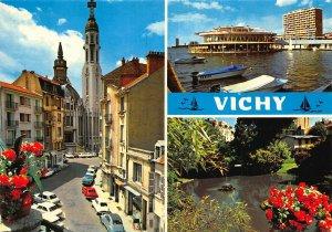 France Vichy Eglise Sainte Blaise Rotonde du Lac Port Park Cars Postcard