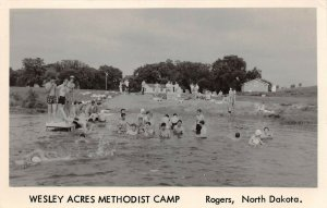 LPS56 Rogers North Dakota Wesley Acres Methodist Church Swimming Lake RPPC