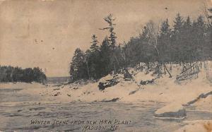 Madison Maine New HW Plant Winter Scene Antique Postcard K78116