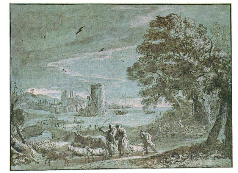 Claude Lorrain Coast View With A Battle On A Bridge Painting Postcard