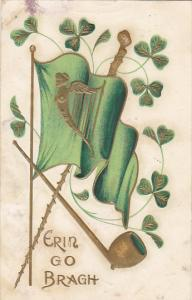 Saint Patrick's Day Erin Bo Bragh With Flag Pipe and Harp 1908