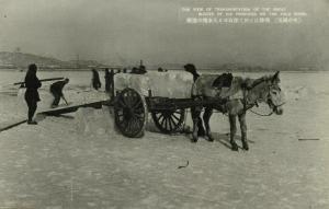 china korea, Yalu Amnok River, Ice Block Transport (1930s) Manchukuo Postcard