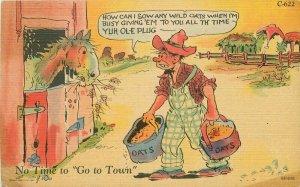 Comic Humor Farmer House Ray Walters 1940s Postcard linen Teich 20-1170