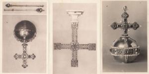 Wien Schafzkammer Religious Crucifix Antique Royal Regalia 3x German Postcard s