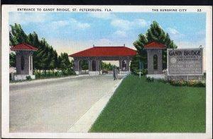 Florida ~ ST PETERSBURG Entrance to Gandy Bridge LINEN