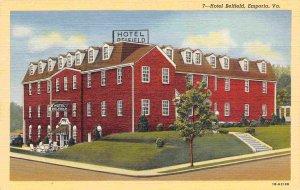 Hotel Belfield Emporia Virginia linen postcard