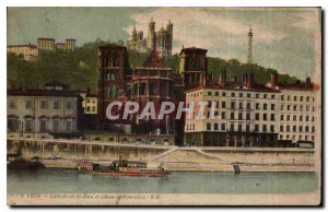 Postcard Old Lyon and Cathedrale St. Jean hillside Fourviere