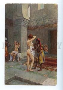 129208 NUDE Slaves Women HAREM Bathing Vintage color PC